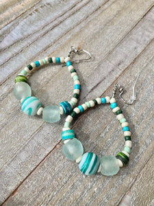 Ocean Drops Recycled Glass Earrings