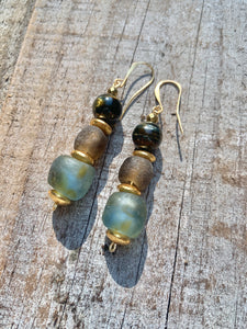 Beautiful Day Recycled Glass Bead and Natural Stone Earrings