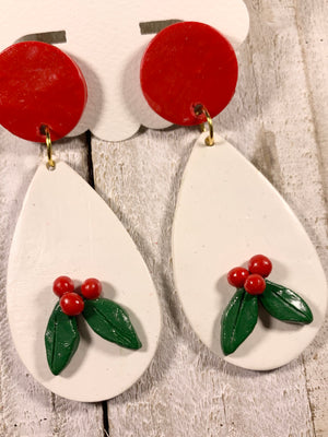 Holiday Holly Polymer Clay Teardrop Earrings