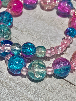 Candie Crackled Glass Bracelet Stack