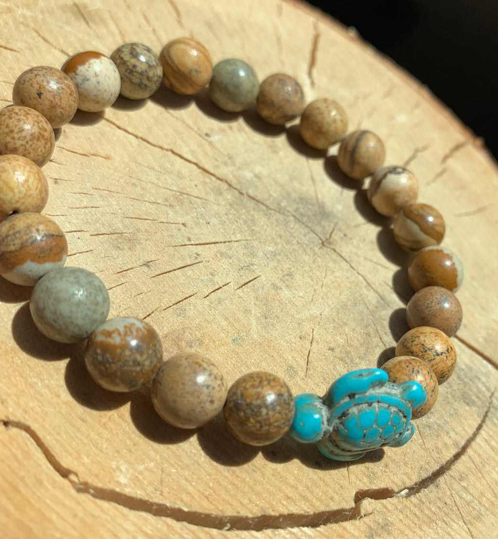 Sea Turtle Natural Stone Bracelet