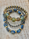 Fall Glitz Recycled Glass Bead and Natural Stone Bracelet Stack