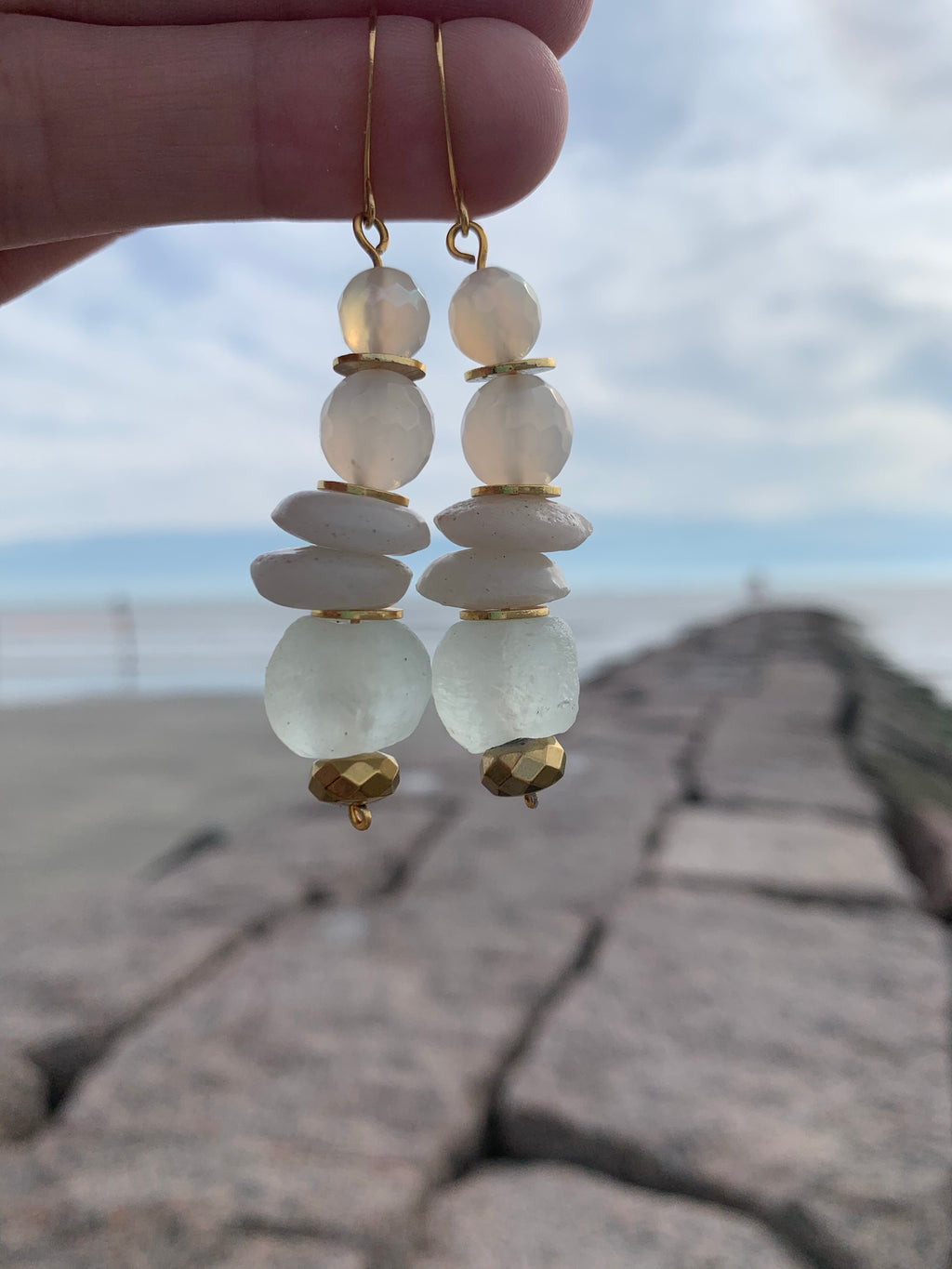 Snow Day Recycled Glass and Semi Precious Stone Earrings