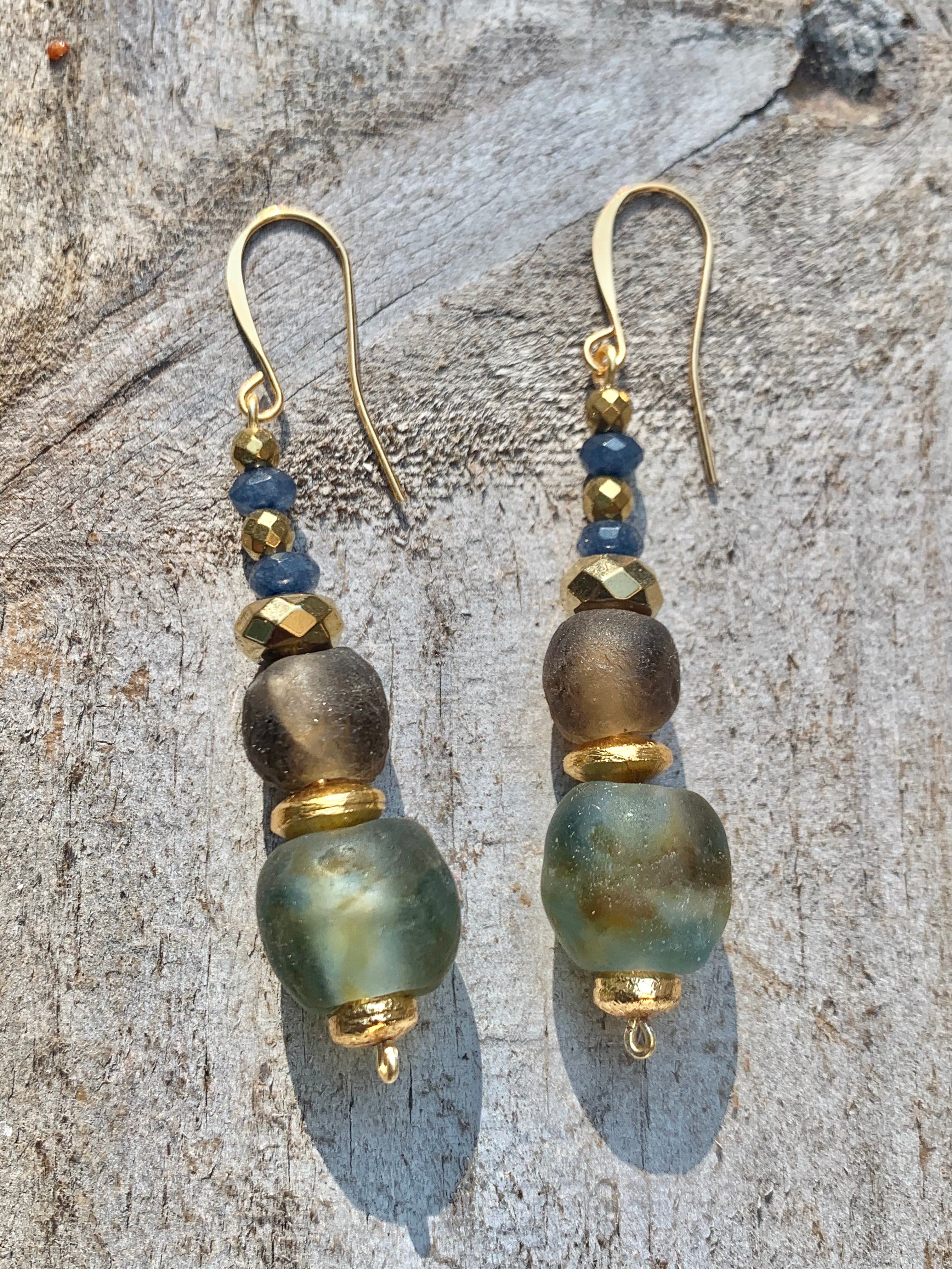 Fall Glitz Recycled Glass Bead and Natural Stone Earrings