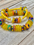 Sunshine and Blossums Glass Bead Bracelet Stack