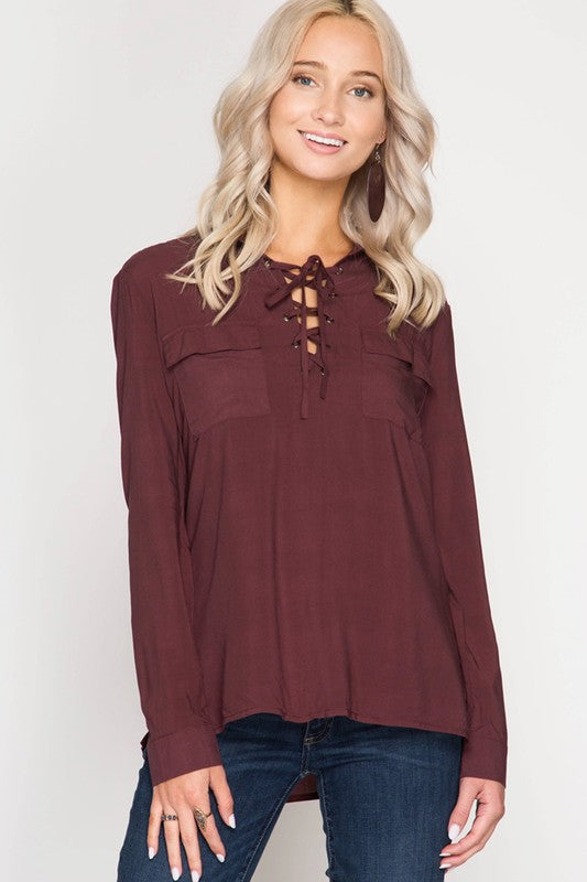 Hello Fall lace up top Tesoro Mio Boutique Tops