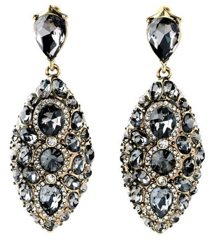 Large Smoke crystal drop earrings. Tesoro Mio Boutique Accessories