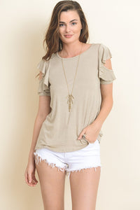 Oatmeal open ruffle top