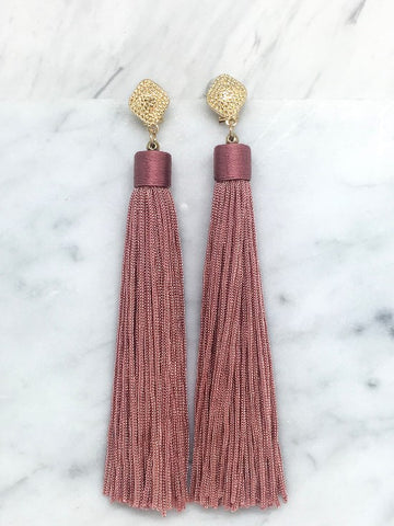 Pink Gold french clip tassel earring. Tesoro Mio Boutique Accessories