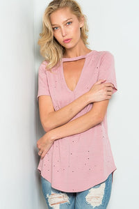 Carrison distressed pink choker top
