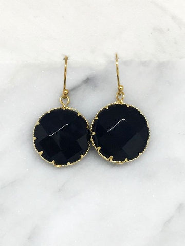 black stone drop earrings Tesoro Mio Boutique Accessories