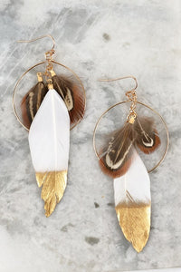 White feather  loop earrings Tesoro Mio Boutique Accessories
