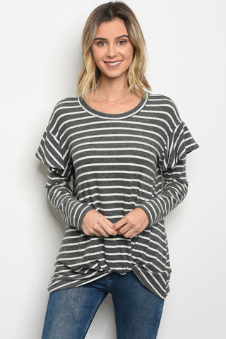 On the line grey stripe top