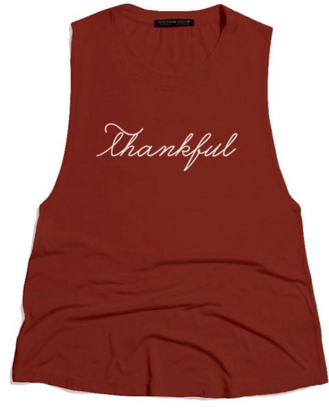 Thankful tank -rust Tesoro Mio Boutique Top