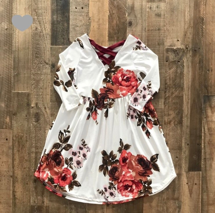 Kids cream floral crisscross dress Tesoro Mio Boutique Dress