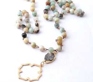 Amazonite beaded natural druzy pendant necklace