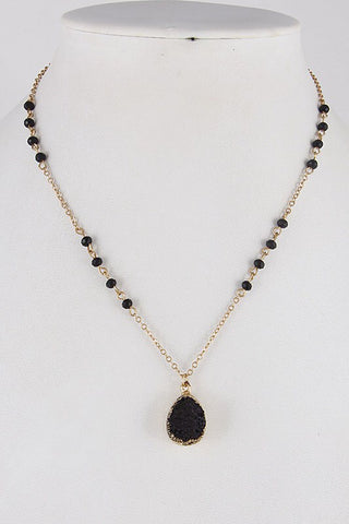 Black rosary beaded druzy necklace