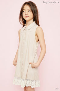 Latte collar button down lace dress Tesoro Mio Boutique Dress