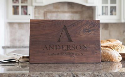 Personalized Large Laser Engraved 11x17 Walnut Cutting Boards QUAL1079
