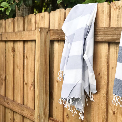 Light Grey Thick Striped Towel
