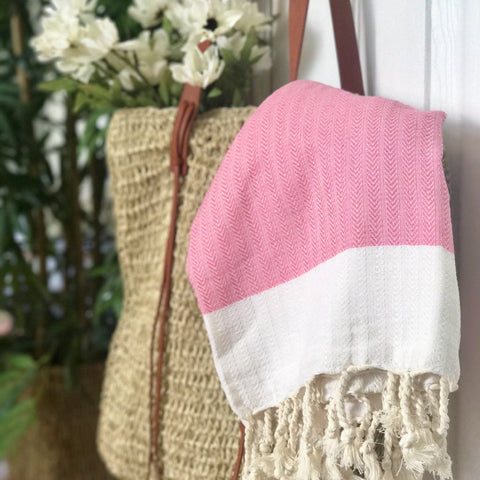 Pink Herringbone Towel