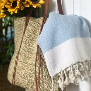Light Blue Herringbone Towel