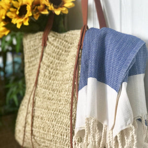 Deep Blue Herringbone Towel