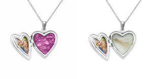 Memorial lockets made with a loved one's ashes