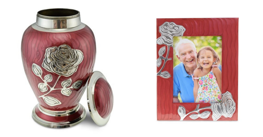 Matching cremation urns, photo frames, and tealights