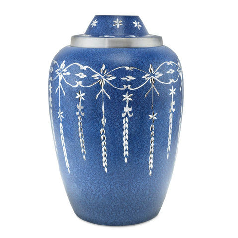 Casscade Metal Adult Cremation Urn for Ashes, in Blue - Cherished Urns