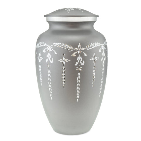 Flourish Grey Engraved Flourish Adult Cremation Urn for Ashes - Cherished Urns