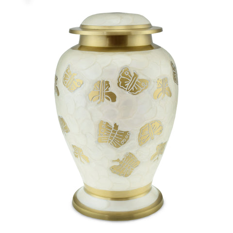 Kaleidoscope White Pearl Butterfly Adult Cremation Urn for Ashes - Cherished Urns