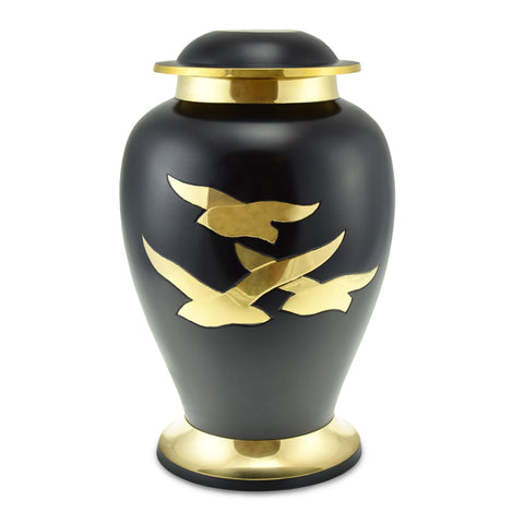 Going Home Adult Cremation Urn in Black & Bronze Matt for Ashes - Cherished Urns