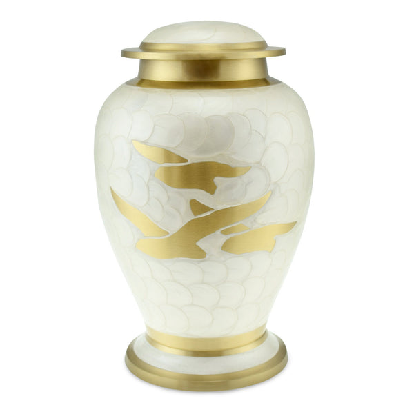 Going Home Adult Cremation Urn in White Pearl & Bronze for Ashes - Cherished Urns