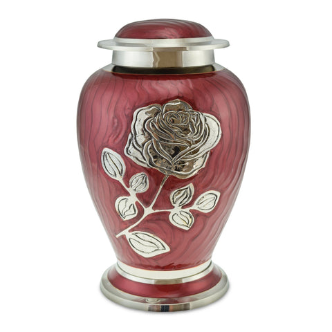 Bloom Red Patterned With Rose Adult Cremation Urn for Ashes - Cherished Urns