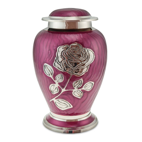 Bloom Dark Pink Patterned With Rose Adult Cremation Urn for Ashes - Cherished Urns