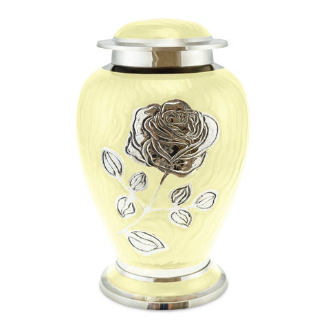 Bloom Yellow Patterned With Rose Adult Cremation Urn for Ashes - Cherished Urns