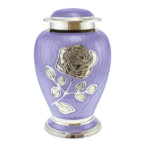 Bloom Purple Patterned With Rose Adult Cremation Urn for Ashes - Cherished Urns