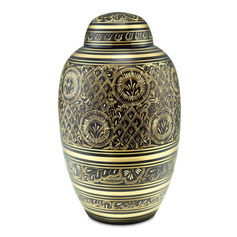 Radiance Black/Brass Engraved Radiance Adult Cremation Urn for Ashes - Cherished Urns