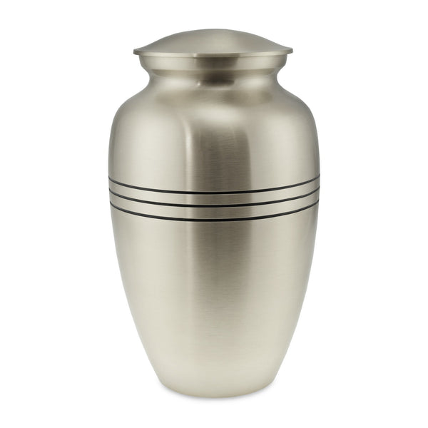 Polurrian Classic Brushed Pewter Adult Cremation Urn for Ashes - Cherished Urns