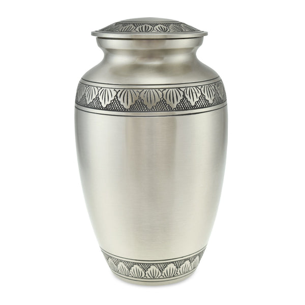 Towan Polished Pewter Ornate Brass Banded Adult Cremation Urn for Ashes - Cherished Urns