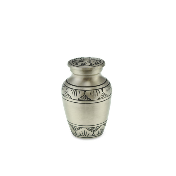 Towan Keepsake Pewter Ornate Brass Banded Adult Cremation Urn - Cherished Urns