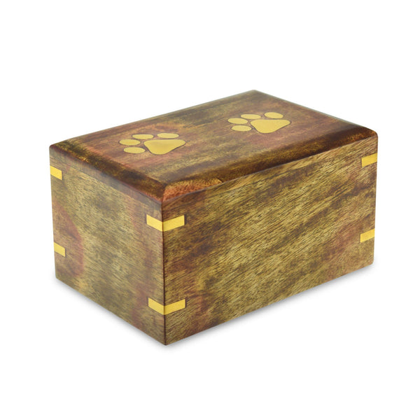 Whitsand Wooden Casket Paw Print Pet Cremation Urn - Extra Small. Capacity of 25 cubic inches - Cherished Urns