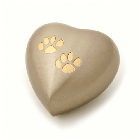 Brass Heart Keepsake Pet Urn with Two Paw Prints- 3.5-inches - Pewter, in Presentation Box - Cherished Urns