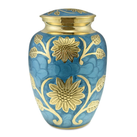 Sun Flower Polished Blue Adult Cremation Urn for Ashes - Cherished Urns