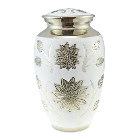 Sun Flower Polished White Adult Cremation Urn for Ashes - Cherished Urns