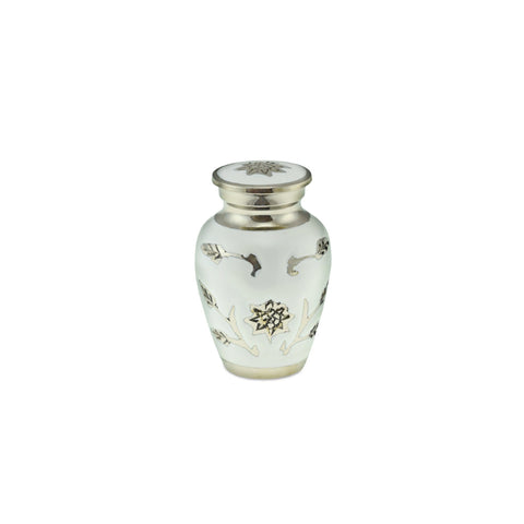 Sun Flower Keepsake Polished White Adult Cremation Urn - Cherished Urns