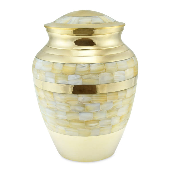 Lamorne Mother of Pearl & Brass Adult Cremation Urn for Ashes - Cherished Urns