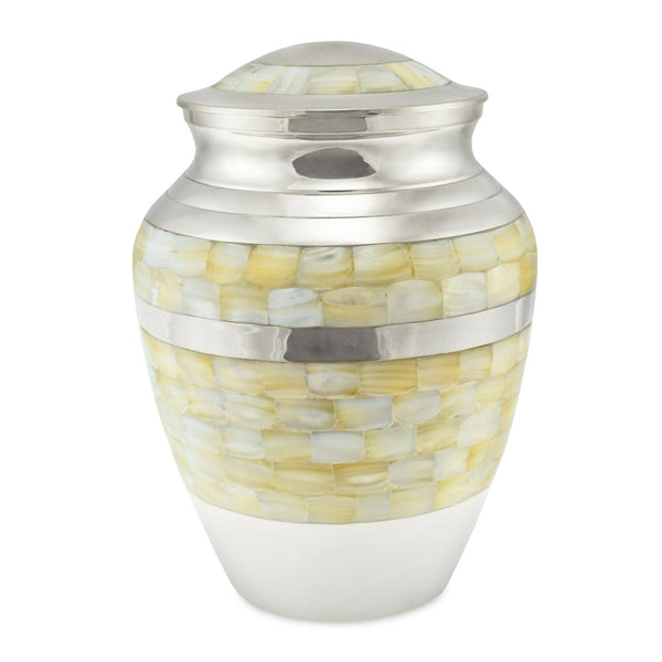 Lamorne Mother of Pearl & Nickel Adult Cremation Urn for Ashes - Cherished Urns