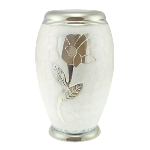 Rose White Patterned Adult Cremation Urn for Ashes - Cherished Urns